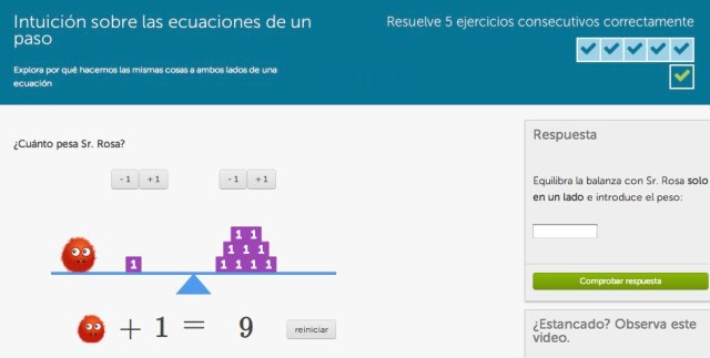 https://es.khanacademy.org/math/cc-sixth-grade-math/cc-6th-expressions-and-variables/cc-6th-solving-equations/e/one_step_equation_intuition